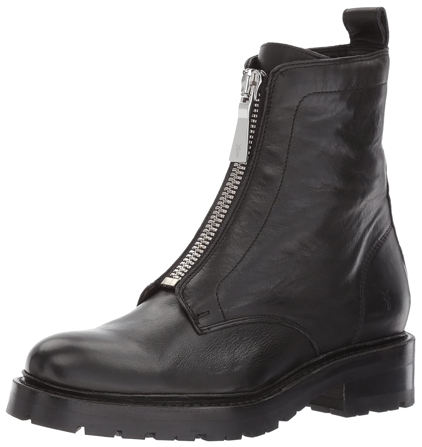 FRYE Women's Julie Front Zip Combat Boot B01MY0NRY2 10 B(M) US|Black Polished Soft Full Grain