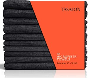 TASALON Microfiber Hair Towel - 10 Pack - Salon Towels - Quick Dry Microfiber Towels - 29 x 16 Inches Ultra-Soft Microfiber Towel for Hair, Facial Towels with Soft Absorbant - Black