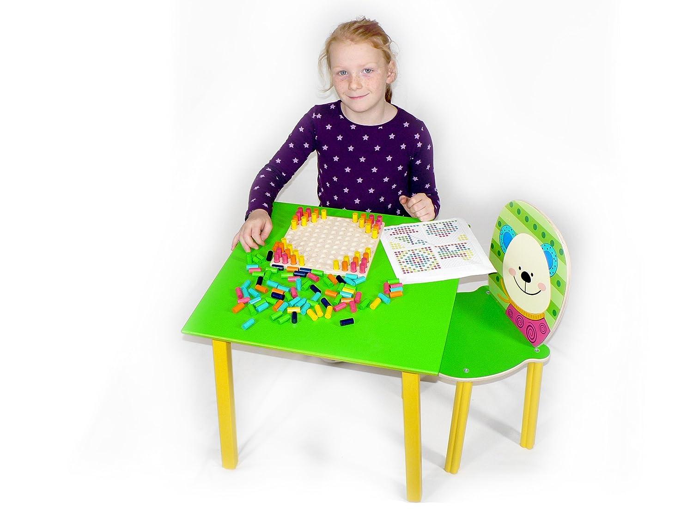 Hess 30205–Tavolo per bambini, in legno, verde, ca. 50x 50x 42cm IDEN Grosshandelshaus Berlin Hess_30205