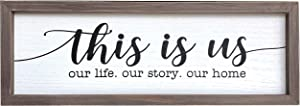 This is Us Wall Decor Home Decor Signs Farmhouse Sign Rustic Wood Wall Sign Wall Decorations for Living Room Bedroom Kitchen Dining Room Entryway Sign- Our Life Our Story Our Home