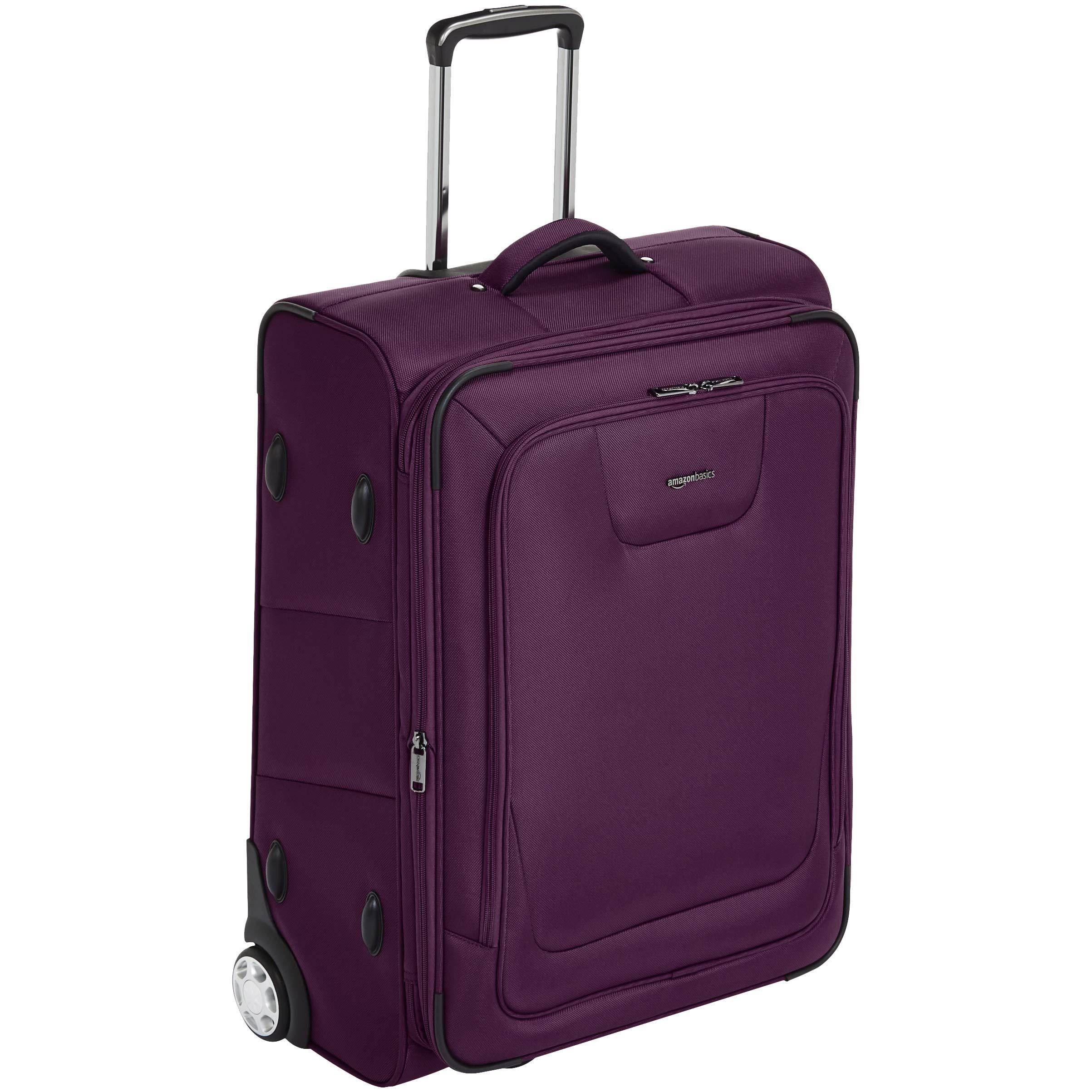 AmazonBasics Expandable Softside Rolling Luggage Suitcase With TSA Lock And Wheels - 26 Inch, Purple