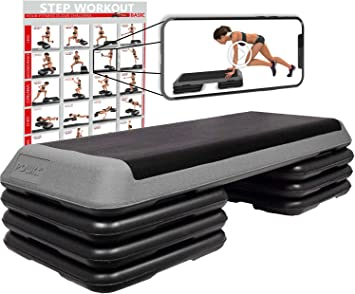 Steppbrett Profi XXL inkl Workout Fitness Set Aerobic Stepbench 110 x 42 cm