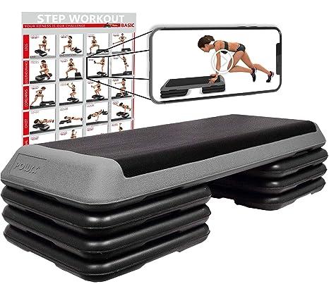 POWRX Step fitness/aeróbic escalón XXL (110 x 42 cm) - Stepper ...
