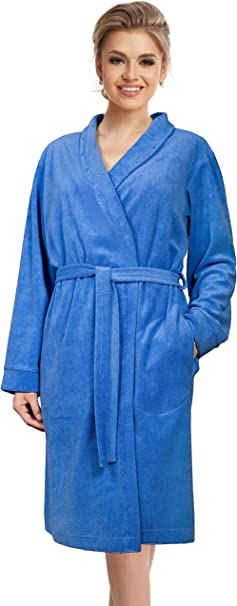 Bademantel Damen Morgenmantel warmer Saunamantel mit Gürtel Baumwolle
