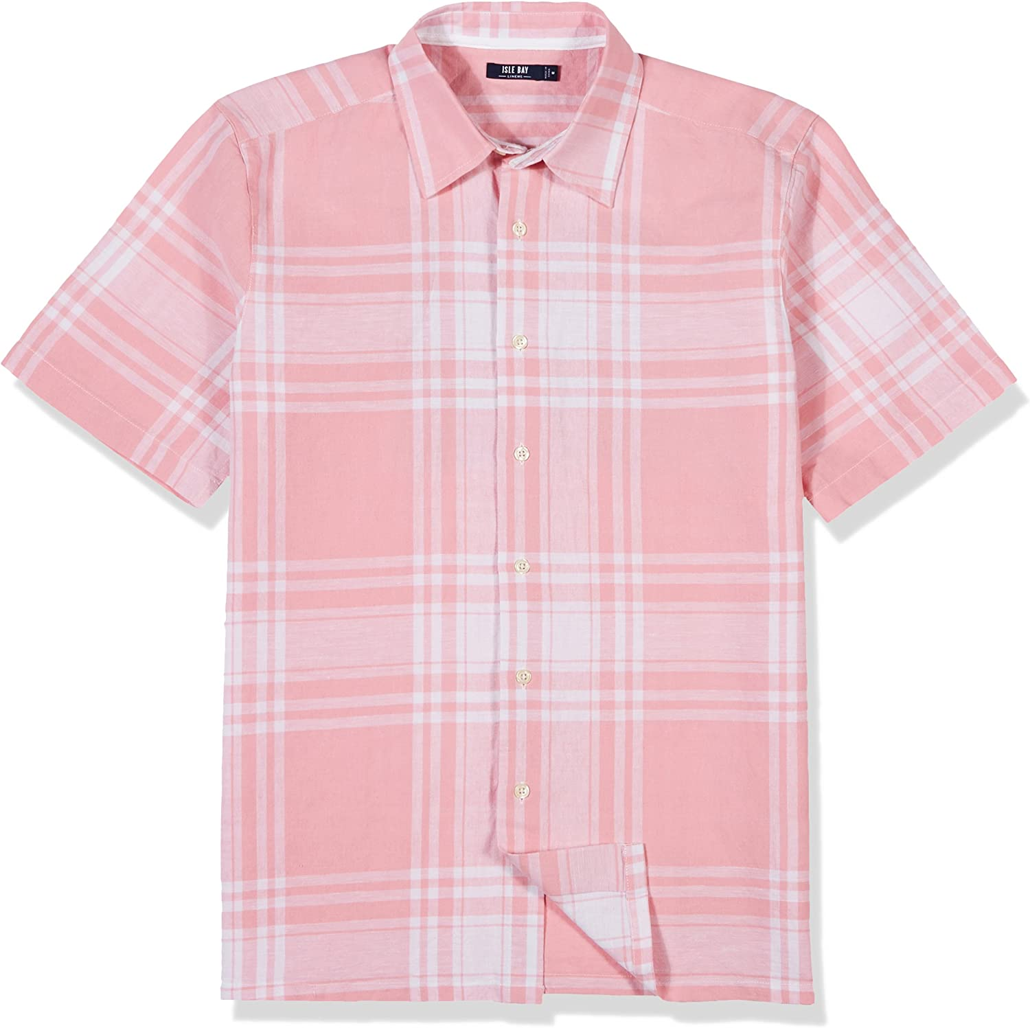 Isle Bay Linens Mens Short Sleeve Plaid Woven Linen Cotton Blend Casual Shirt