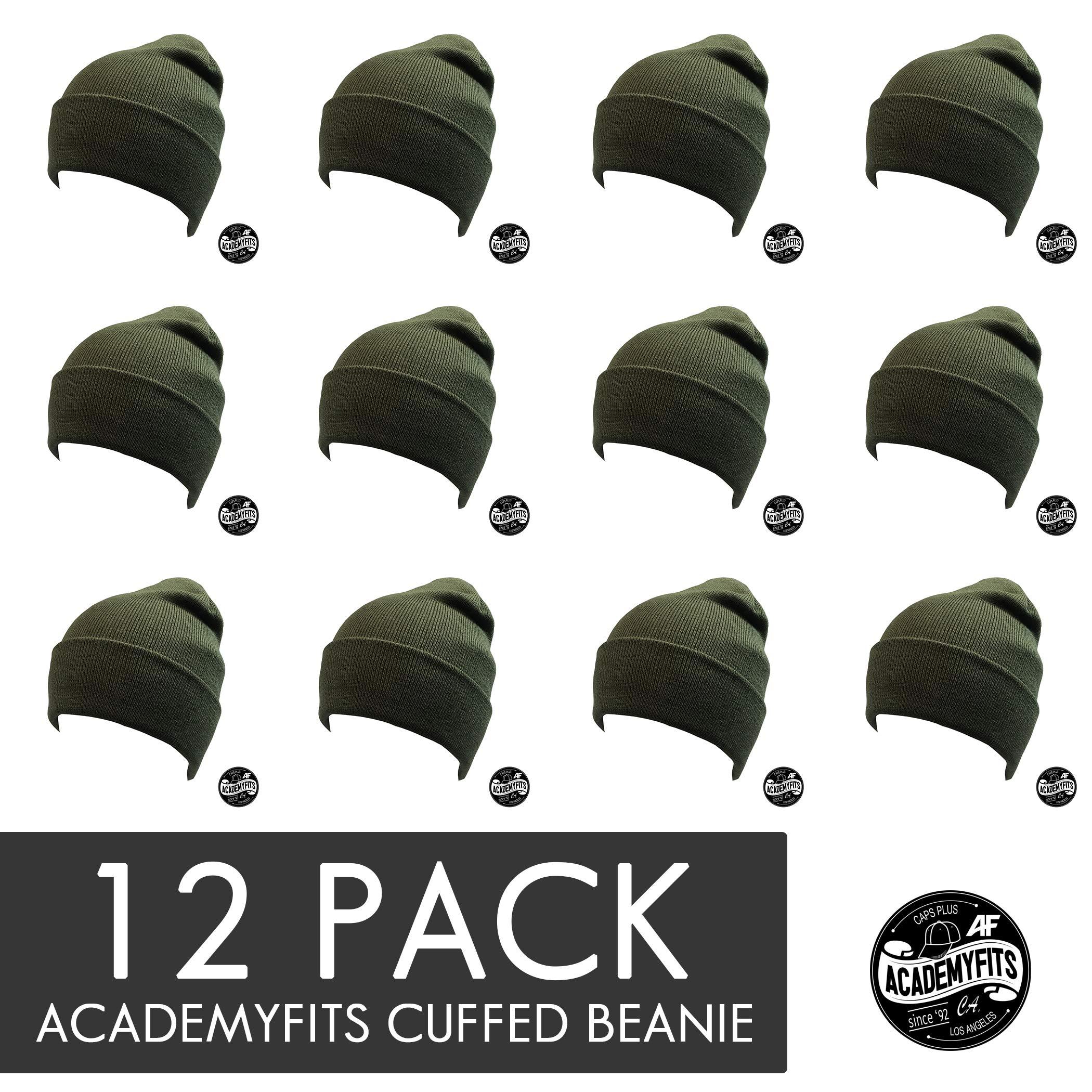 AcademyFits Quality Warm Soft Winter Cuffed 9'' Solid Beanie Hat Men Women Unisex Cap Wholesale 12 Pack Lot (Olive (12))
