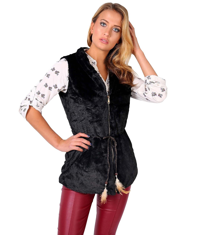 KRISP Women's Faux Fur Fleece Gilet Vest Jacket Spring Waistcoat 4182