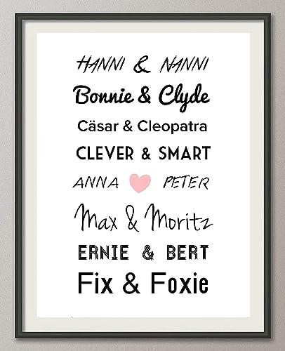Personalisiertes Poster Traumpaare Geschenk Hochzeit Heirat