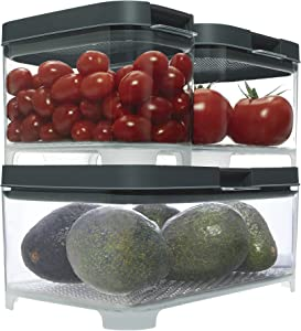 Rubbermaid 2042884 FreshWorks Countertop Food Storage Produce Saver, Set, Clear/Grey