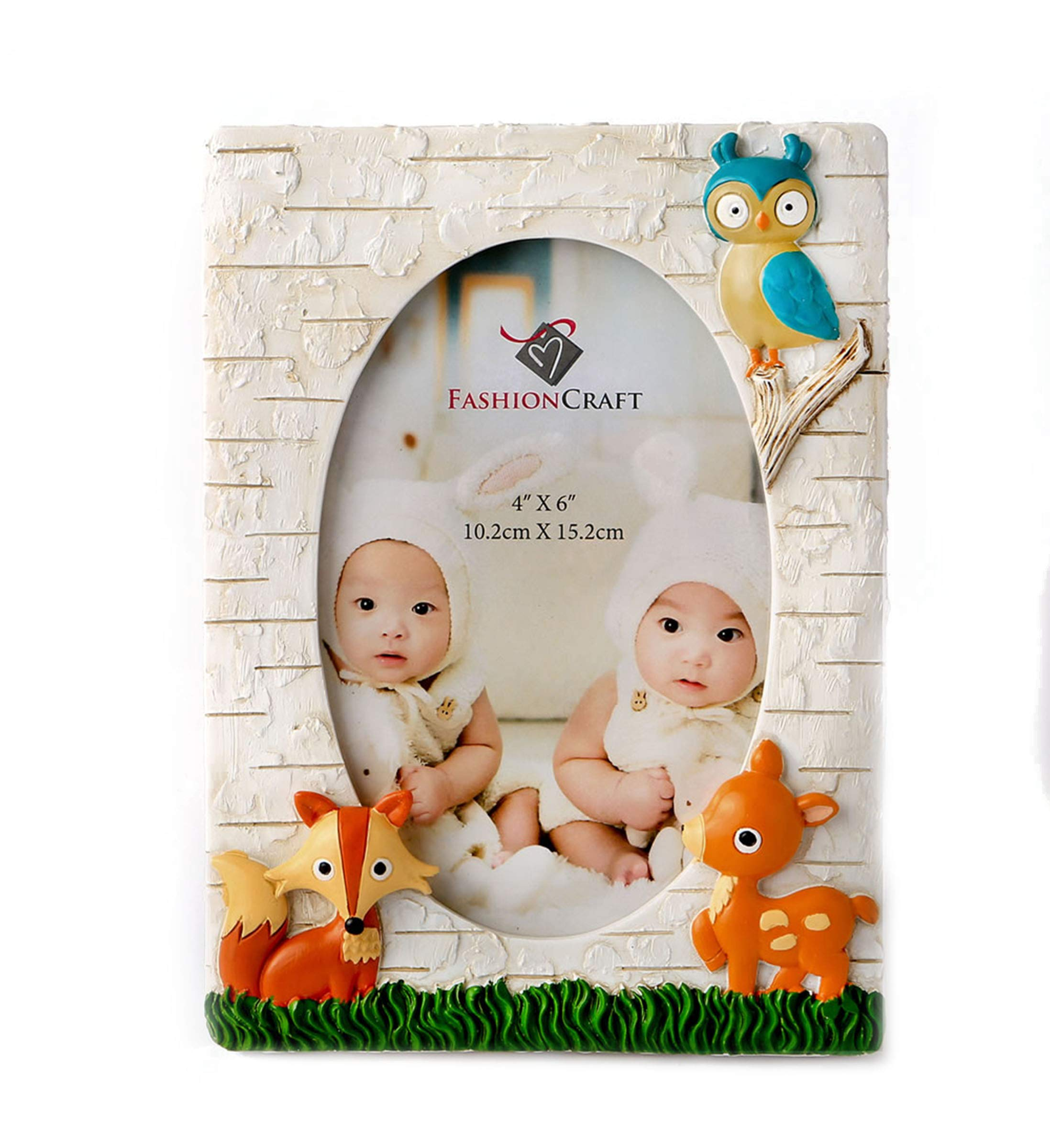 Fashioncraft Woodland Animals 4x6 Photo Frame - Polyresin - Handpainted - Oval Insert - Gender Neutral for Boys and Girls - Baby Room Décor