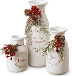 National Tree Company Pre-lit Artificial Christmas 3-Piece Set Flocked with Mixed Decorations - Ceramic White Bottles