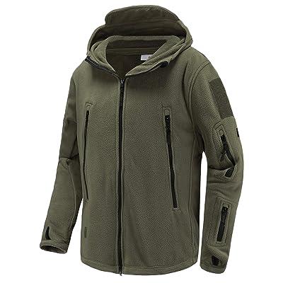 Abollria Men's Warm Military Tactical Sport Fleece Hoodie Jacket Fall Winter Soft Polar Fleece Coat Jacket at Amazon Men's Clothing store