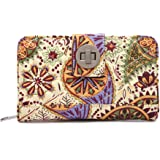 Malirona Women's Canvas Wallet Bohemian Style Purse Clutch Bag Multi Card Case Wallet with Zipper Pocket (Yellow Flower)