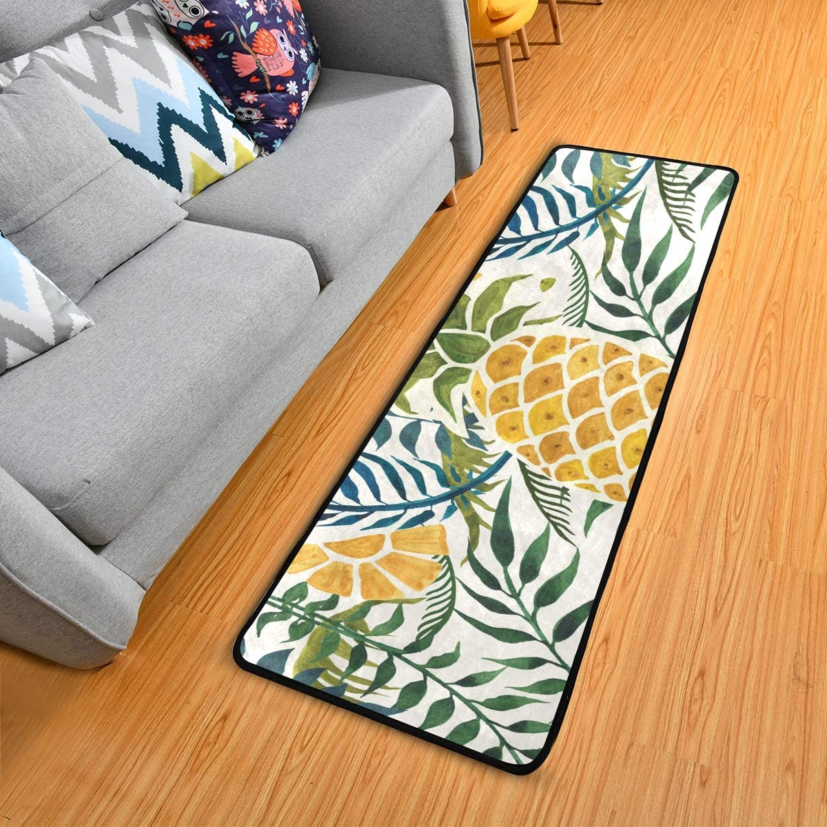 Anti Fatigue Kitchen Floor Mat, Colorful Non Slip Absorbent Comfort Standing Mat Soft Runner Rug for Hallway Entryway Bathroom Living Room Bedroom 72 x 24 in (Tropical Pineapple)
