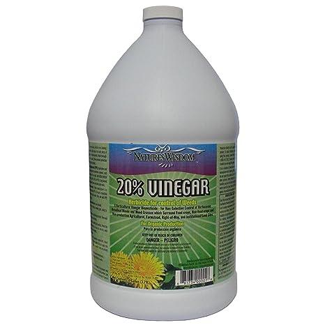 Garden Safe Weed and Grass Killer, 20 Percent Vinegar Herbicide for Control  of Weeds, Nature's Wisdom, Gallon, Distilled White Vinegar