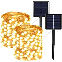 2-Pack EXF Upgraded Super Bright Solar String Lights Outdoor