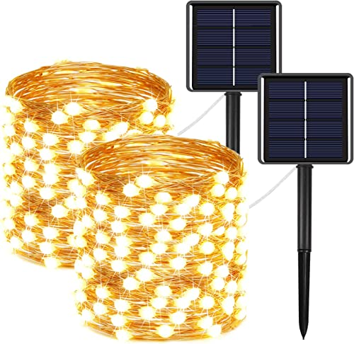 2-Pack Solar String Lights Outdoor 400LED, Upgraded Super Bright Solar Lights Outdoor with Much Bigger LED lamp Beams, Waterproof Copper Wire Fairy Lights for Christmas Decoration Garden Warm White