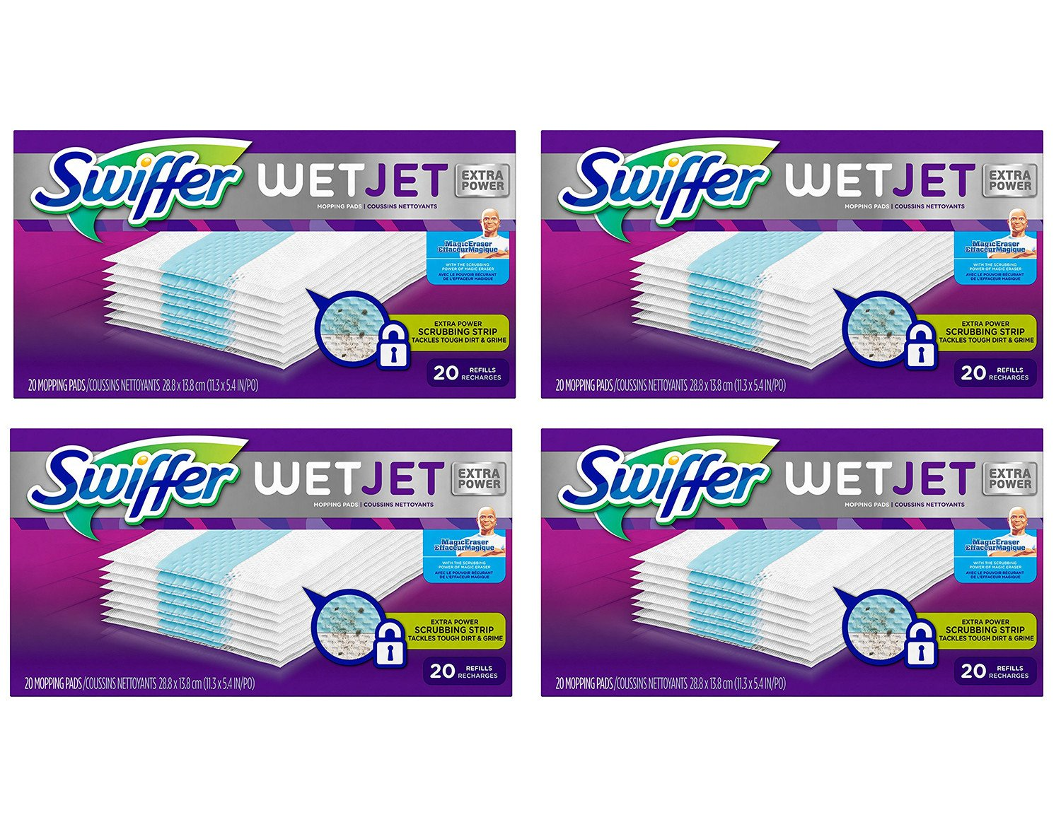 Swiffer WetJet Hardwood gHtQy Floor Spray Mop Pad Refill Extra Power 20 Count (Pack of 4) ZikZD