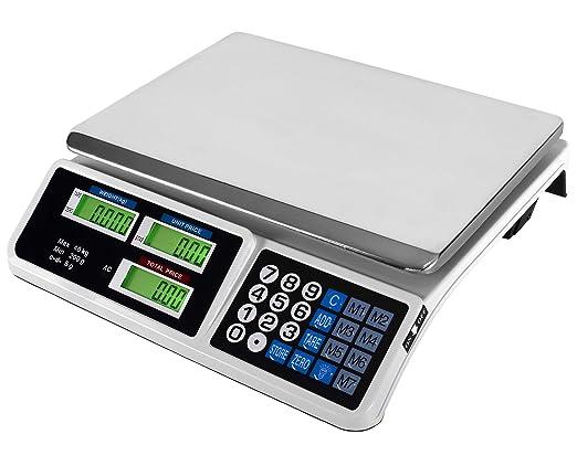 JeVx Bascula Digital Comercial hasta 40 Kilos 2 EN 1 con BATERIA Recargable y Enchufe 220V Precision 5 a 5 Gramos Frutera Comercio Balanza 40kg Peso ...