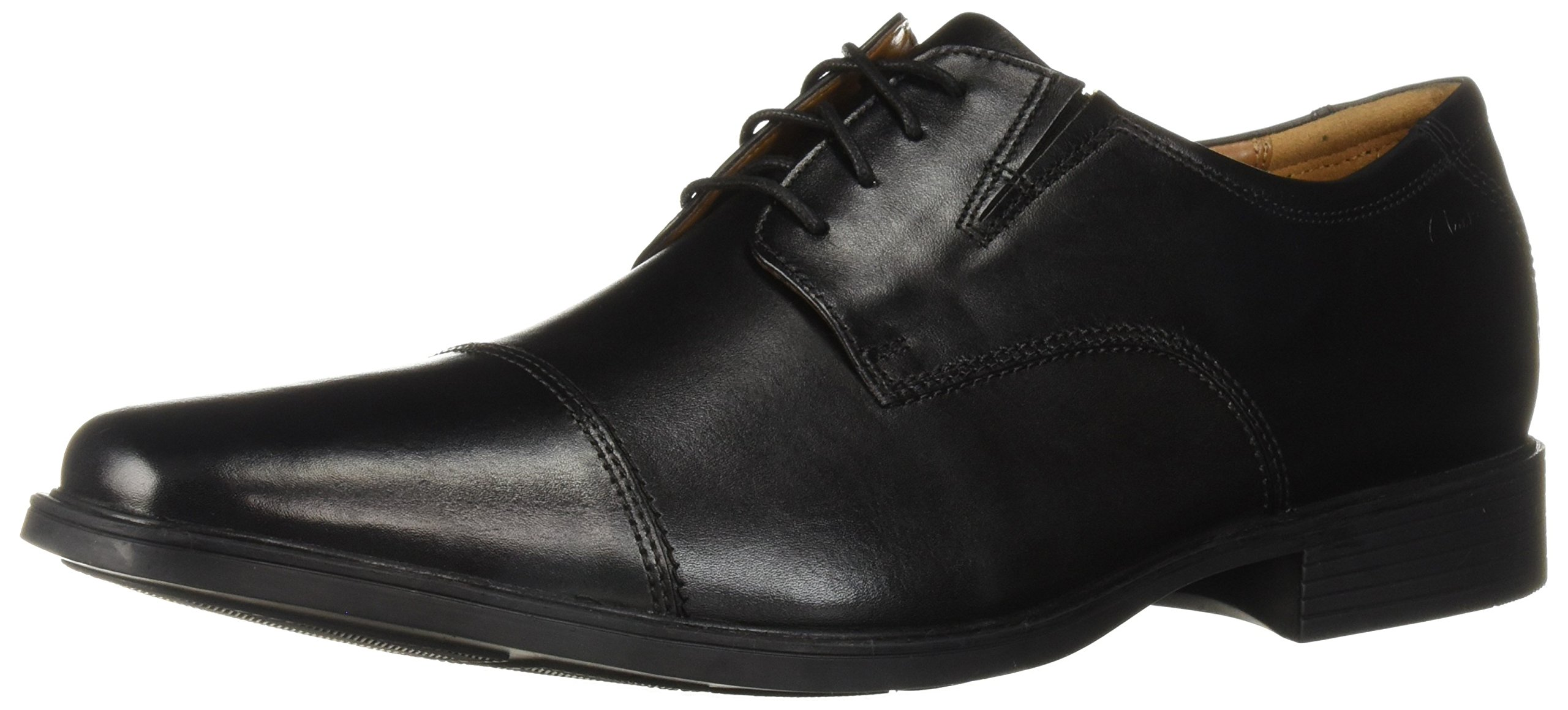 CLARKS Men's Tilden Cap Oxford Shoe,Black Leather,9.5 M US