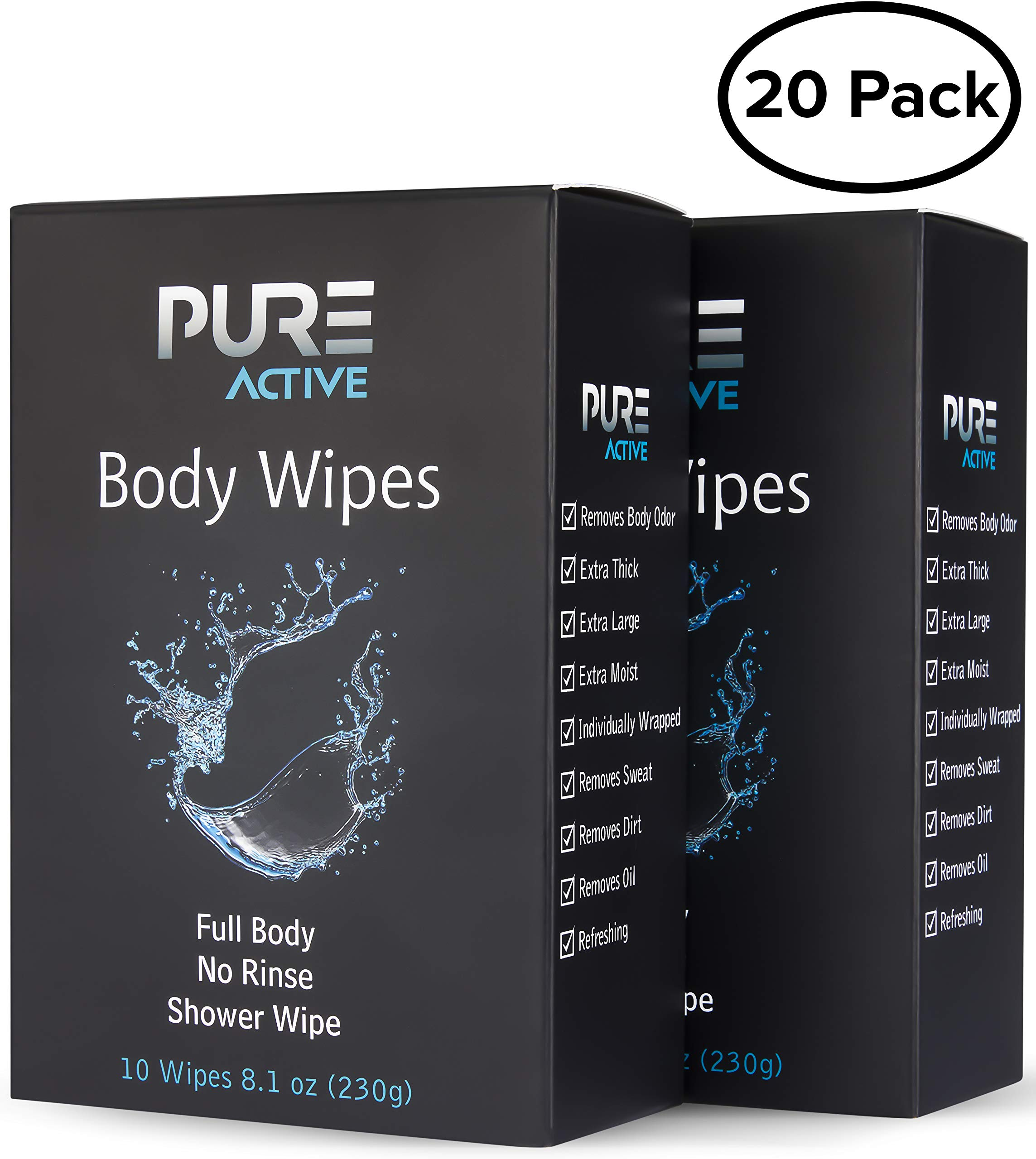Shower Body Cleansing Wipes - New Pure Active 20 Individually Wrapped Personal Hygiene Wipes. 2 Pack x10 Extra Large Perfect Solution to Keep Clean After Gym Travel Camping Outdoors Sports Survival by Pure Active