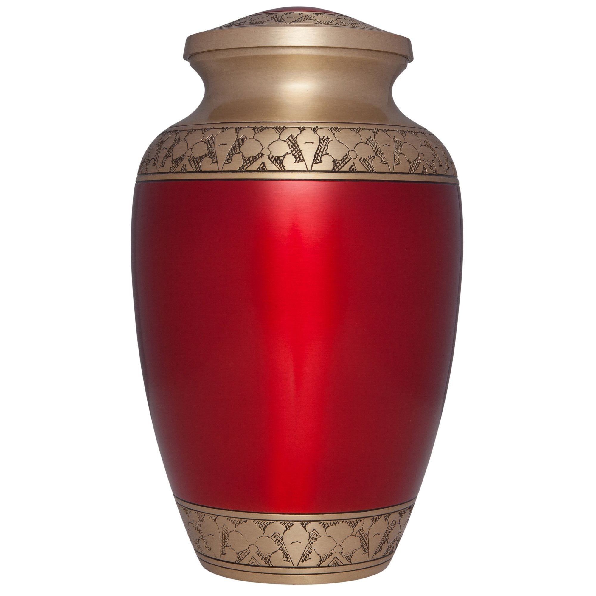 Red Funeral Urn by Liliane Memorials - Cremation Urn for Human Ashes - Hand Made in Brass -Suitable for Cemetery Burial or Niche- Large Size fits remains of Adults up to 200 lbs- Tranquility Red Model