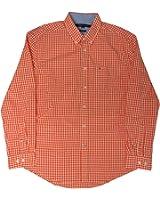 Tommy Hilfiger Men's Custom Fit Shirt, Size Large/G, Orange Checks