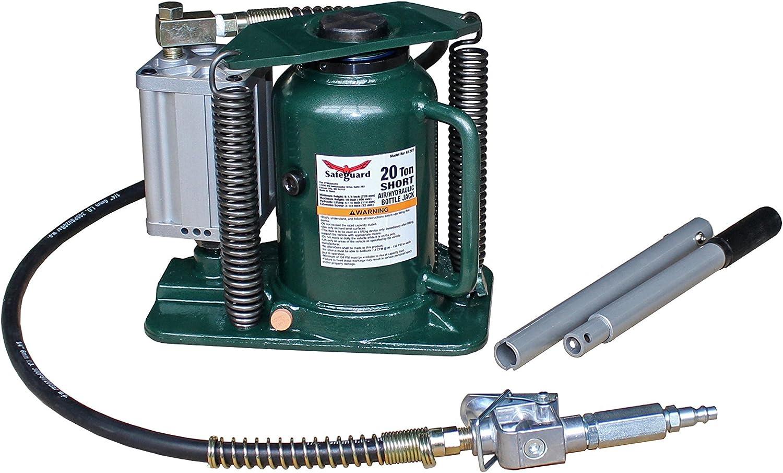 Steel Welded Base 20 Ton Capacity Shorty SAFEGUARD Air//Hydraulic Bottle Jack