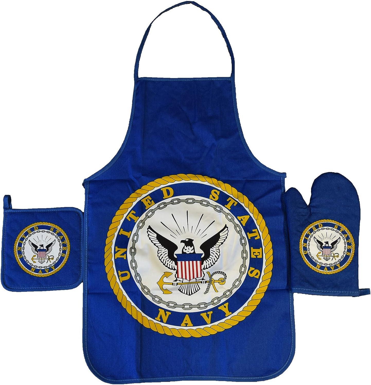 United States Navy 3-piece Apron, Oven Mitt & Pot Holder Set