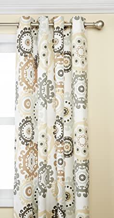 Ivory Curtains for Door, Global Inspired Fabric Grommet Window Curtain for Outdoor, Laguna Medallion Light Window Curtains, 54X84, 1-Panel Pack