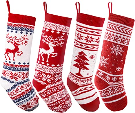 Hand knitting Christmas Stocking Brown Green White Stocking with snowflake ornament Christmas decoration Christmas gift