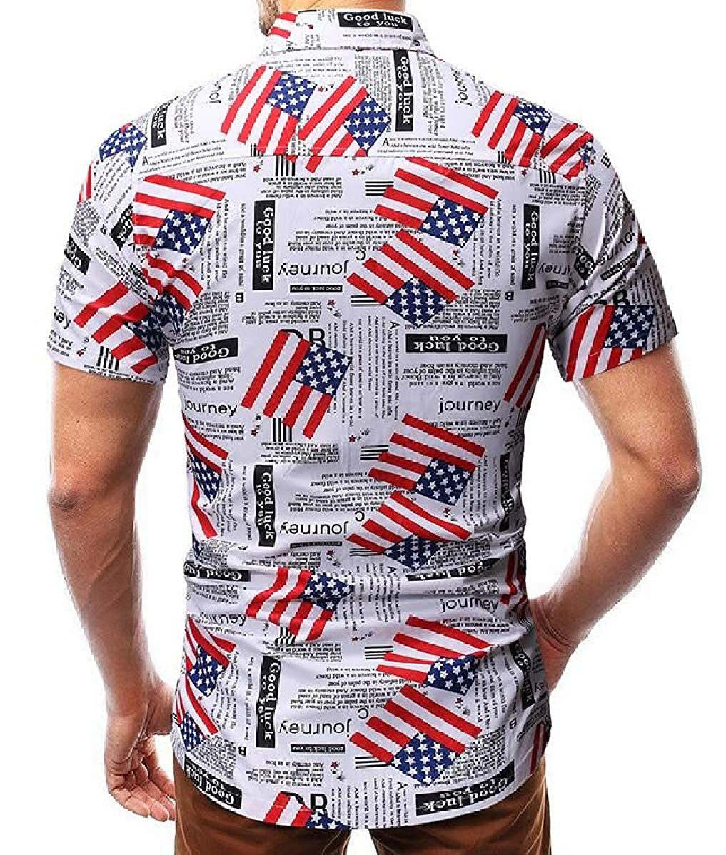 shinianlaile Mens Flag Print Casual Formal Short Sleeve Button Front Shirts