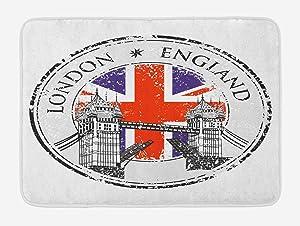 Ambesonne British Bath Mat, London England Grunge Stamp with Flag Nostalgic National Graphic, Plush Bathroom Decor Mat with Non Slip Backing, 29.5