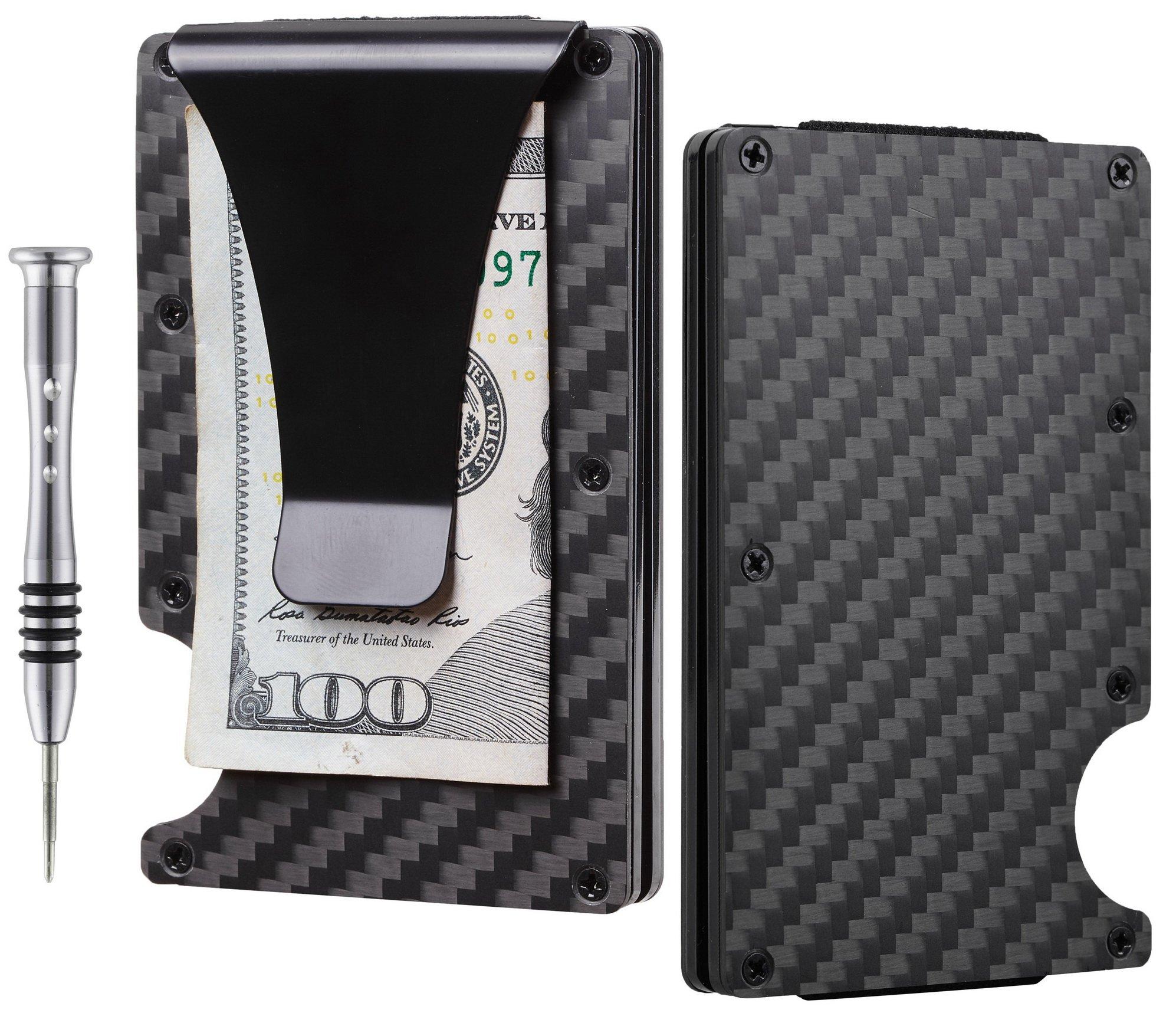 TougherGun Aluminum Slim Minimalist Front Pocket Wallet Credit Card Case Holder RFID Blocking (carbon fiber black)