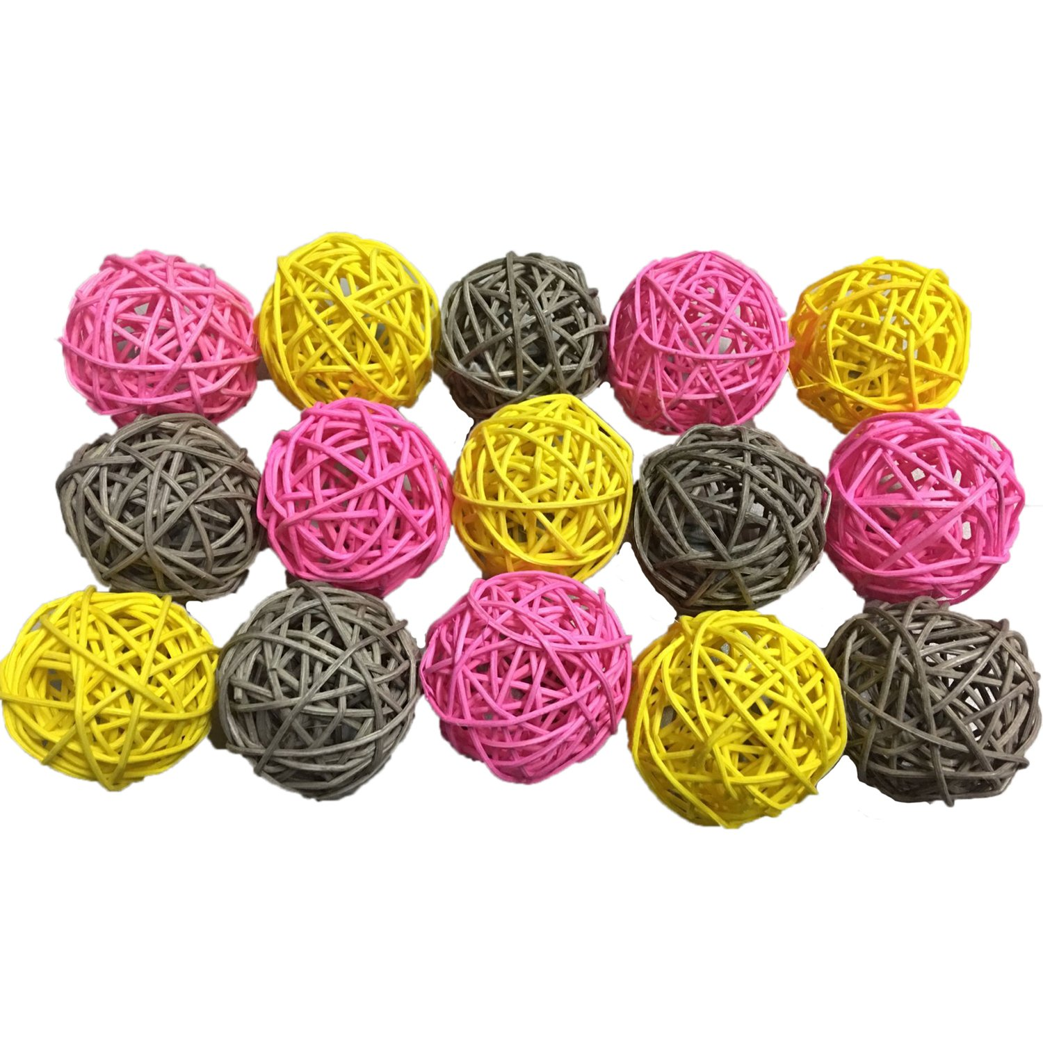15PCS Mixed Pink Yellow Grey Decorative Wicker Rattan Ball Wedding Girl Birthday Christening Baby Shower Nursery Hanging Decoration DreammadeStudio