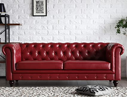 Amazon.com: Victoria Chesterfield Leather Sofa,Tufted Classic Luxury ...