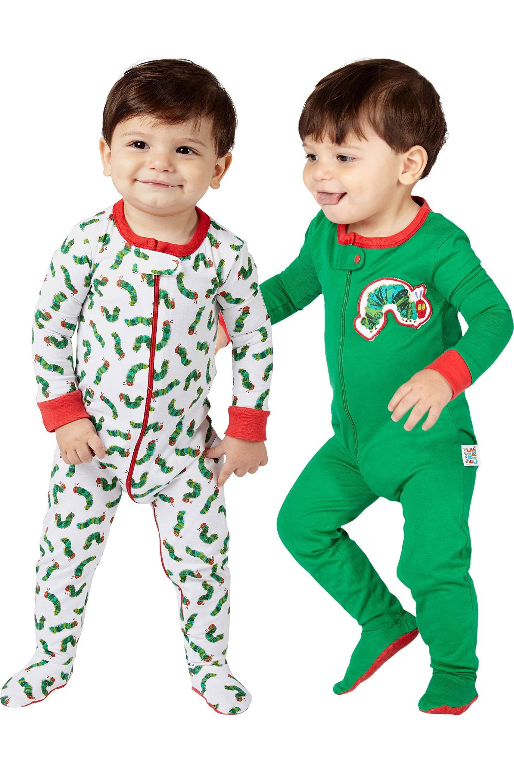 Eric Carle Very Hungry Caterpillar Infant 2 Piece Footie Sleeper Onesie Pajama Set
