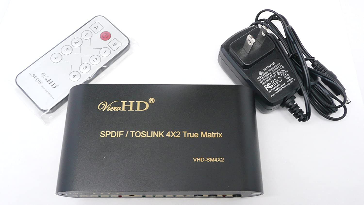 ViewHD SPDIF / TOSLINK Optical Digital Audio 4x2 True Matrix with Remote Control | VHD-SM4X2 U9LTD