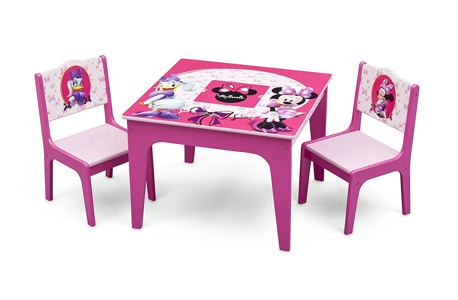 Delta Children Deluxe Kids Chair Set with Table (2 Chairs Included), Disney Minnie Mouse