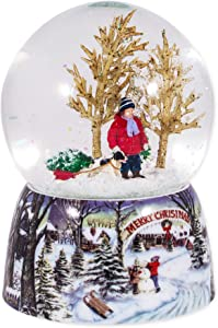 Roman Merry Xmas Snowy Woodland Scene Music Snow Globe Glitterdome Plays O Xmas Tree