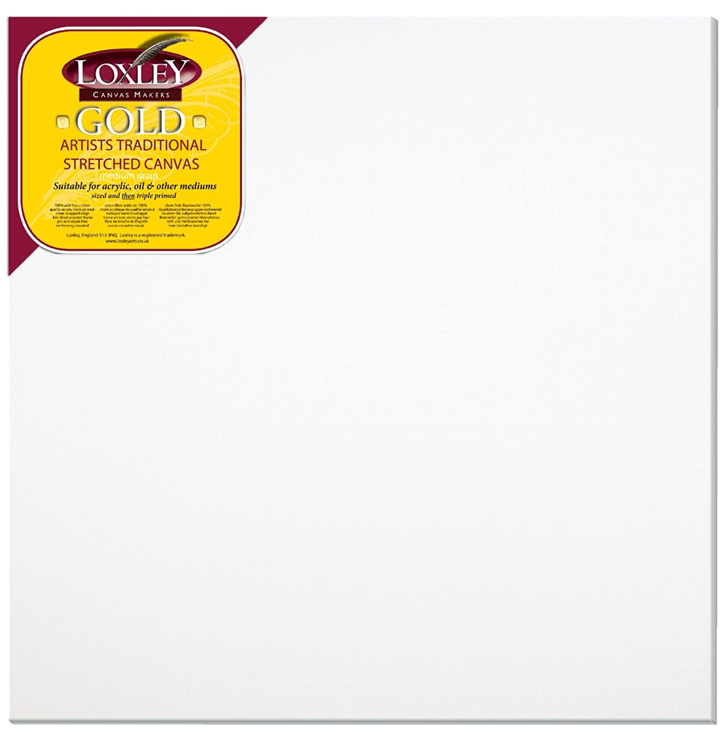 Loxley Gold 30 x 30-inch 76 x 76 cm 18 mm Large Square Traditional Depth Stretched Artist Canvas Primed LCM-3030