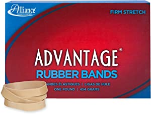 "Alliance Rubber 26845 Advantage Rubber Bands Size #84, 1 lb Box Contains Approx. 150 Bands (3 1/2"" x 1/2"", Natural Crepe)"