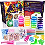 Slime Kit 2018 with Galaxy Egg including 24 Color Crystal Slime Containers, Fruit Slime, Glitter, Straws, Fruit Slices, Foam Beads and Various Slime Supplies, New Slime Kit for Girls and Boys