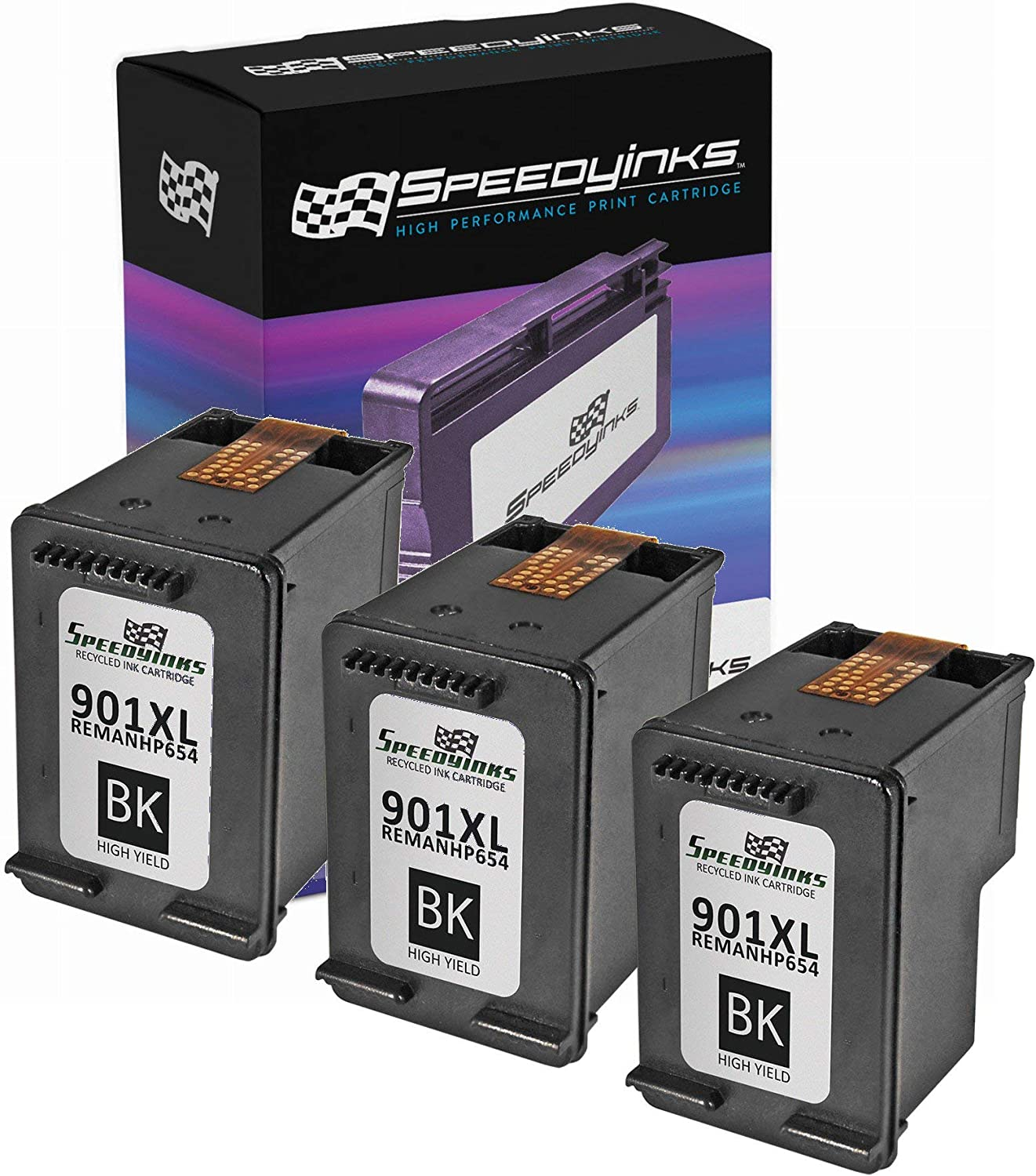 Speedy Inks Remanufactured Ink Cartridge Replacement for HP 901XL High Yield (Black, 3-Pack)