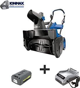 Snow Joe iON18SB 40-Volt iONMAX Cordless Brushless Single Stage Snowblower Kit | 18-Inch | W/ 4.0-Ah Battery and Charger