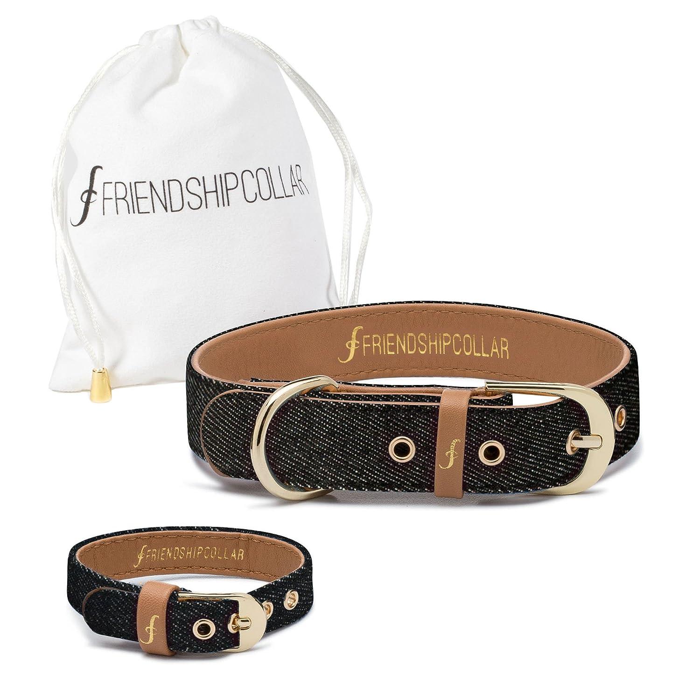 Black Denim X-Small Black Denim X-Small FriendshipCollar Dog Collar and Friendship Bracelet Black Denim X Small