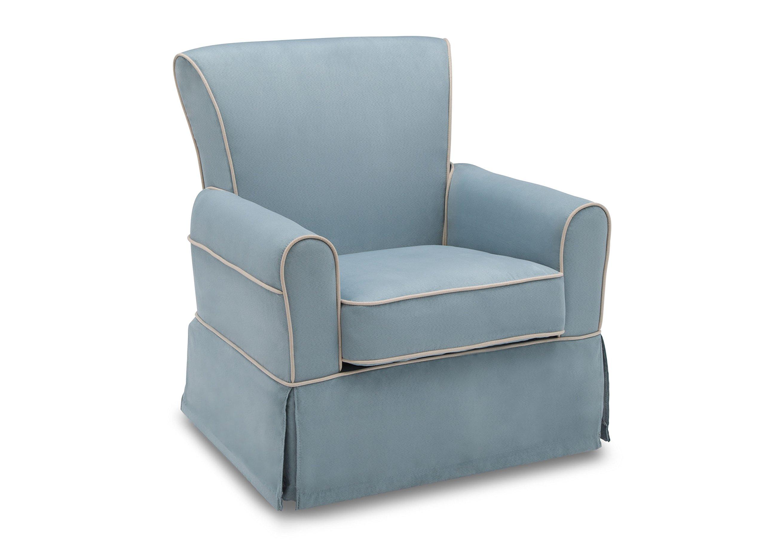 Delta Furniture Benbridge Upholstered Glider Swivel Rocker Chair, Frozen Blue with Cream Welt by Delta Furniture (Image #3)