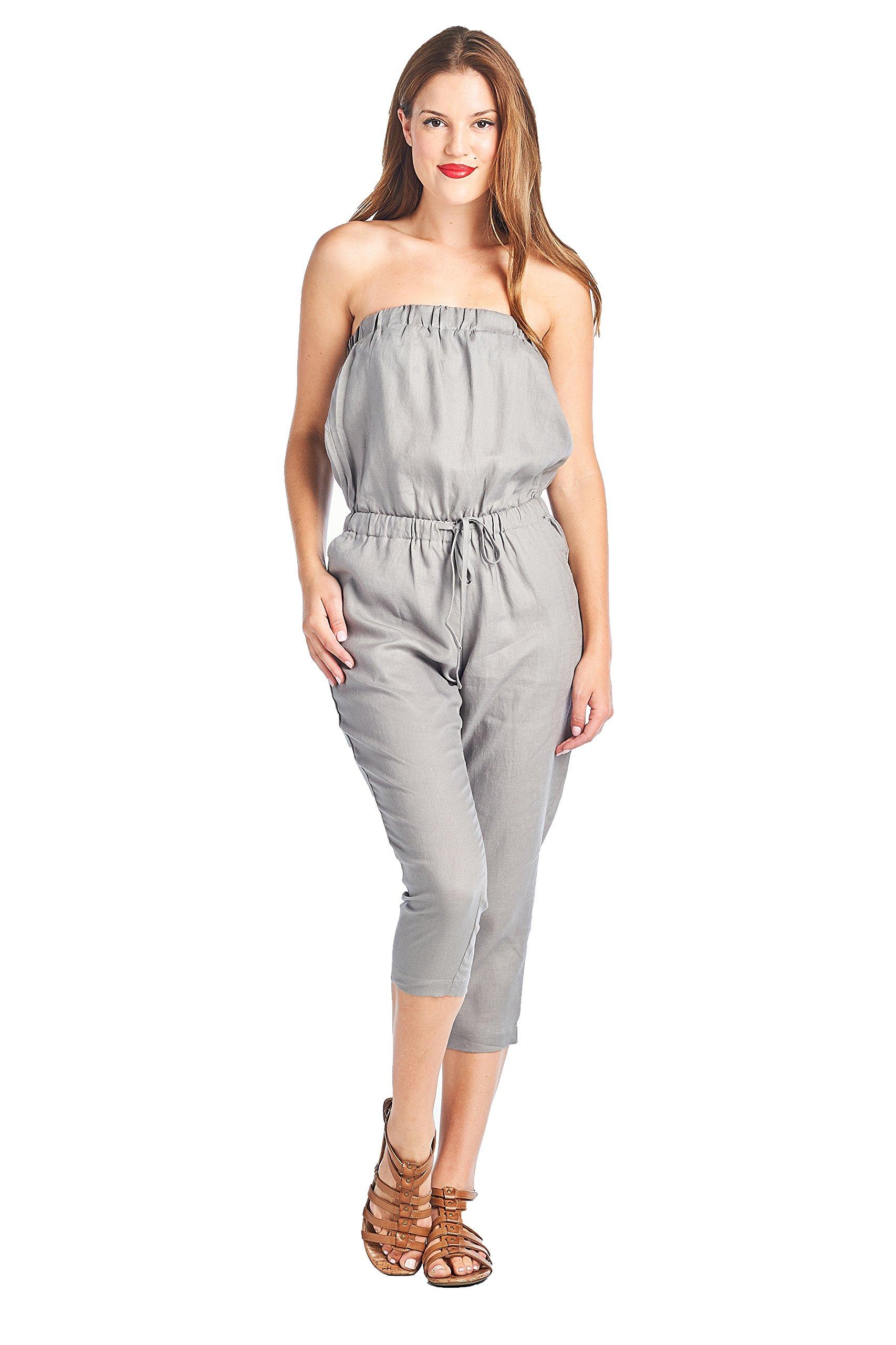 High Style Women's Strapless Capri length 100% Linen Jumpsuit (1410, CharcoalGray, S)