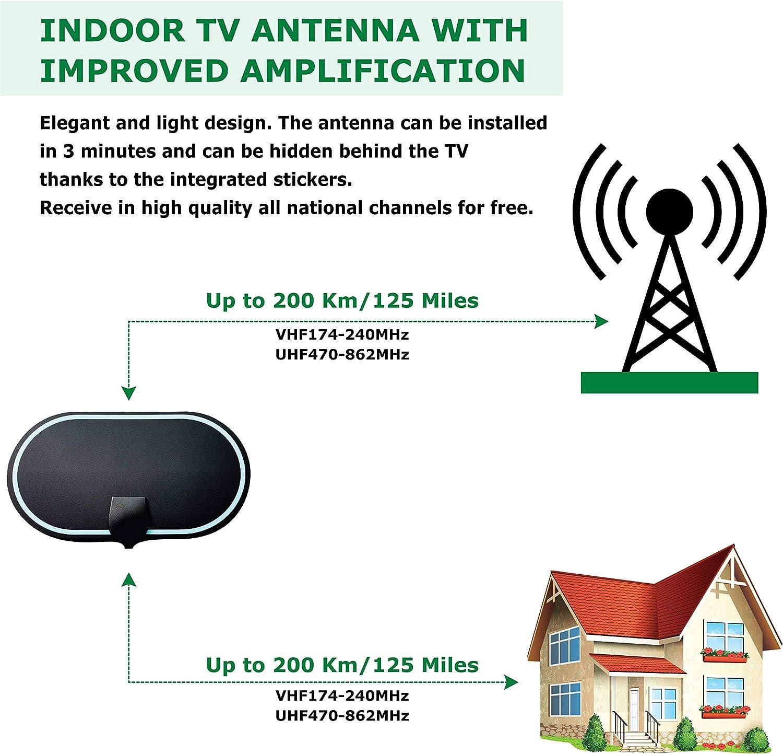 KafooStore Antena TV Interior, Antena TDT Digital con Amplificador De Señal, Canales TV Gratis, Antena TV portatil, Omnidireccional Ultra HD De Alto ...
