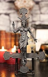 "Ebros Sabbatic Goat Of Mendes Samael Lilith Baphomet On Inverted Cross Hanging Wall Decor Plaque 12.25""High LaVeyan Satanic Devil Worship Lucifer Symbol Solve Et Coagula Crucifix Altar Accent"